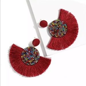 Nip Red bohemian fringe&multigem colored earrings